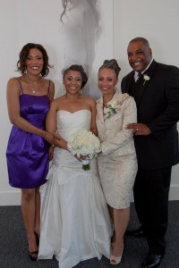 Picture of my family!  Me on my wedding day, sister with my mom and dad.